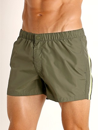 "Model in deep army green #8 Sundek 13"" Elastic Waistband Surf Trunk"