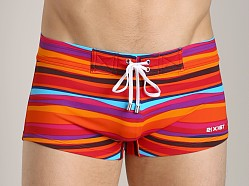 2xist Awning Stripe Cabo Swim Trunk Salsa Red