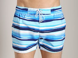 2xist Awning Stripe Ibiza Swim Shorts White