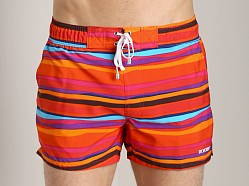 2xist Awning Stripe Ibiza Swim Shorts Salsa Red
