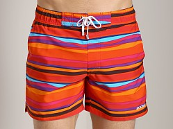 2xist Awning Stripe Hampton Swim Boxer Salsa Red