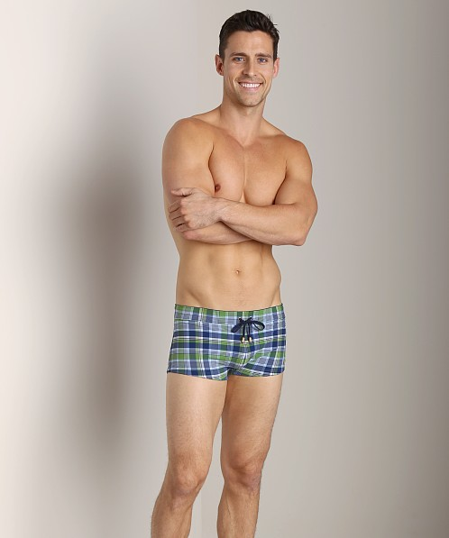 2xist Summer Plaid Cabo Swim Trunk Sour Apple