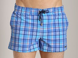 2xist Summer Plaid Ibiza Swim Shorts Pool Blue
