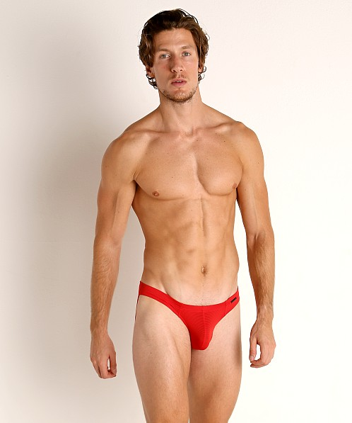Olaf Benz Red 1201 Sheer Stripe Brazil Brief Red