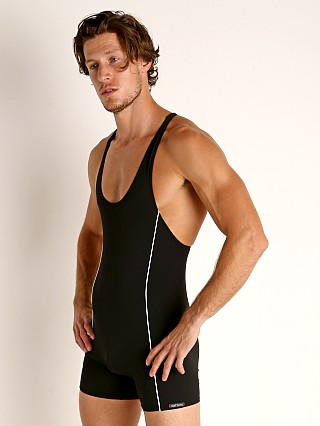 Model in black Olaf Benz Blu 1200 Beach Swim Body Suit