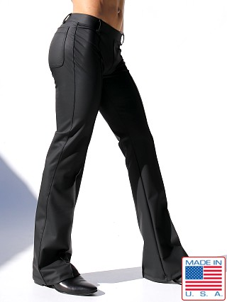 "Model in black Rufskin Roncho Stretch ""Rubber"" Flared-Leg Pants"
