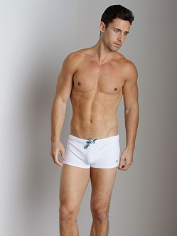 Emporio Armani Embroidery Lycra Swim Trunk White