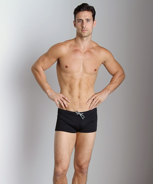 Emporio Armani Embroidery Lycra Swim Trunk Black