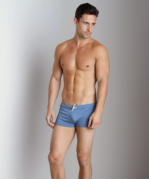 Emporio Armani Embroidery Lycra Swim Trunk Smokey Blue