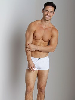 Emporio Armani Seven Stripes Swim Trunk White