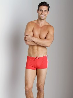 Emporio Armani Seven Stripes Swim Trunk Red