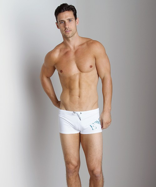 Emporio Armani Big Logo Lycra Swim Trunk White