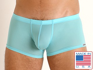 Model in turquoise Rick Majors Slinky Trunk