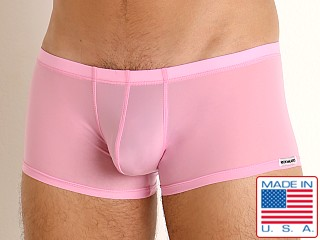 Model in pink Rick Majors Slinky Trunk