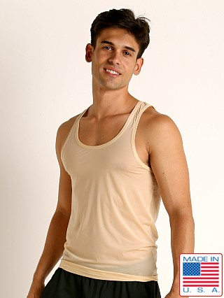 Model in tan Rick Majors Slinky Classic k Top