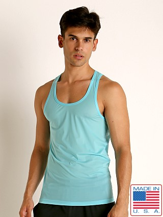 Model in turquoise Rick Majors Slinky Classic Tank Top