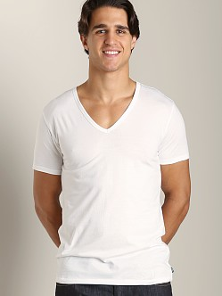 Diesel Essential Dave 100% Cotton V-Neck Shirt White