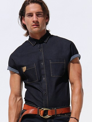Complete the look: Rufskin Stud Sateen Denim Shirt Indigo