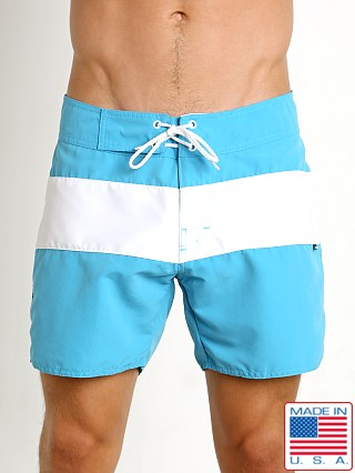 Model in turquoise Sauvage Surf California Classic Boardshort