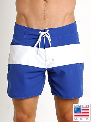 Model in royal Sauvage Surf California Classic Boardshort