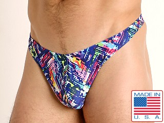 Model in navy slash LASC Brazil Swim Thong