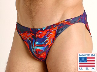 Model in flaming orange LASC Super Low Rise Swim Brief