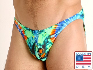Model in tie dye swirls LASC Super Low Rise Swim Brief