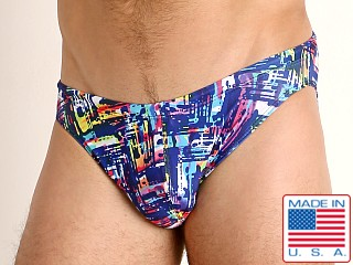 Model in navy slash LASC St. Tropez Low Rise Swim Brief