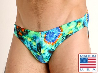 Model in tie dye swirls LASC St. Tropez Low Rise Swim Brief
