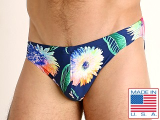 Model in african daisies LASC St. Tropez Low Rise Swim Brief