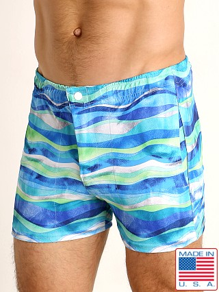 Model in blue waves LASC Malibu Swim Shorts