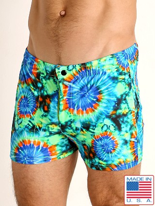 Model in tie dye swirls LASC Malibu Swim Shorts