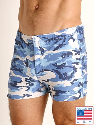 Model in marine camo LASC Malibu Swim Shorts