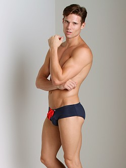 Cover Male Strip Block Swim Brief Navy/Red