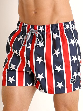 Model in red/white/blue Speedo Redondo Stars and Stripes Volley Short