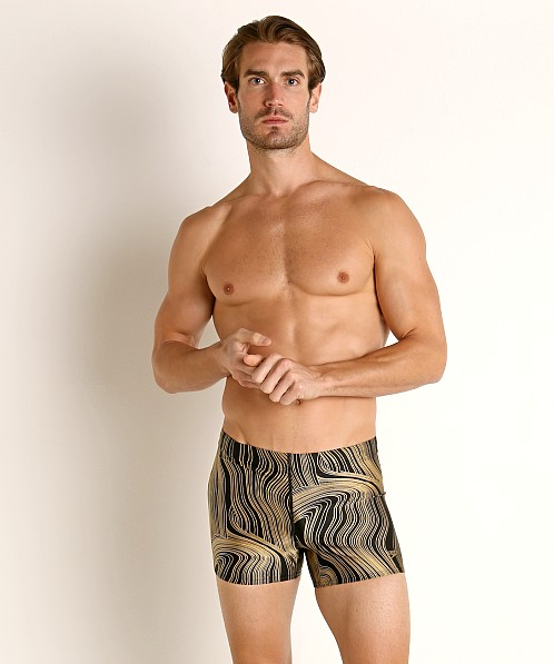 Speedo Dripping in Gold Square Leg Swim Trunk Black/Gold Print