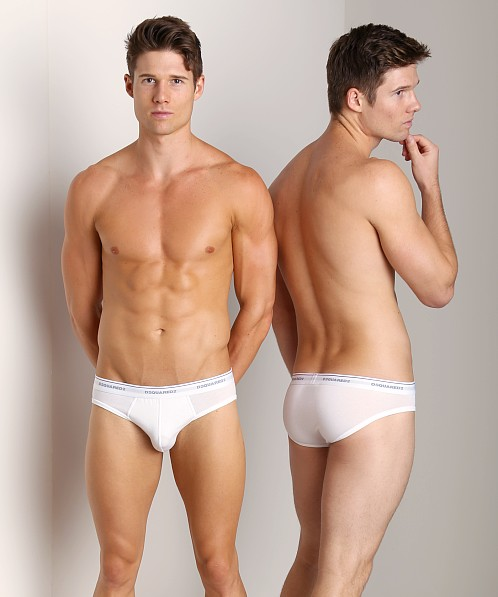 DSQUARED Jersey Cotton Stretch Brief White
