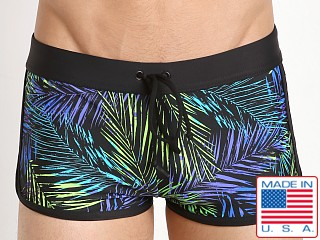 LASC American Square Cut Swim Trunk Blue Neon Palms