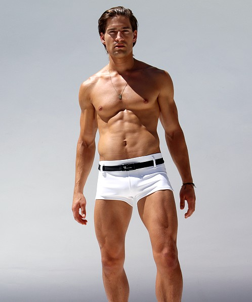 Rufskin Pacifico Belted Square Cut Swim Trunk White/Navy