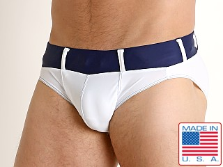 Model in white/navy Go Softwear Bahia Swim Brief
