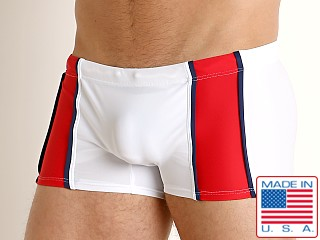 Model in white/red Go Softwear Ixtapa Swim Trunk