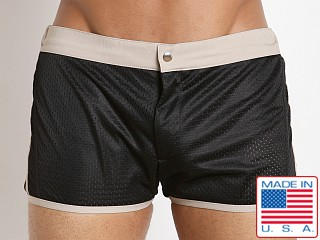 LASC Sixties 2.0 Nylon Mesh Swim Trunk Black/Khaki