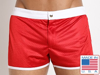 LASC Sixties 2.0 Nylon Mesh Swim Trunk Red/White