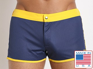 LASC Sixties 2.0 Nylon Mesh Swim Trunk Navy/Yellow