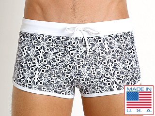 LASC American Square Cut Swim Trunks Black Symbols Print
