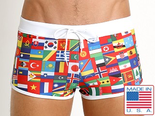 LASC American Square Cut Swim Trunks World Flags