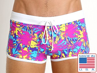 LASC American Square Cut Swim Trunks Neon Sunset