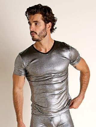 Model in platinum sparkle Manstore Nightclub Dazzle V-Neck T-Shirt