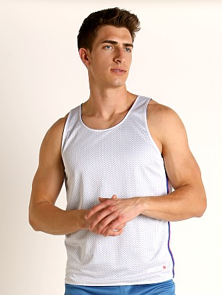 Model in white/blue Cell Block 13 Crossover Mesh Reversible Tank Top