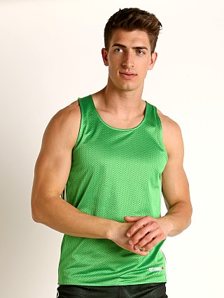 Model in green/black Cell Block 13 Crossover Mesh Reversible Tank Top